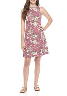 Print Mock Neck Swing Dress