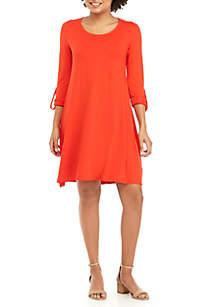 3/4 Roll-Tab Sleeve Scoop Neck Dress