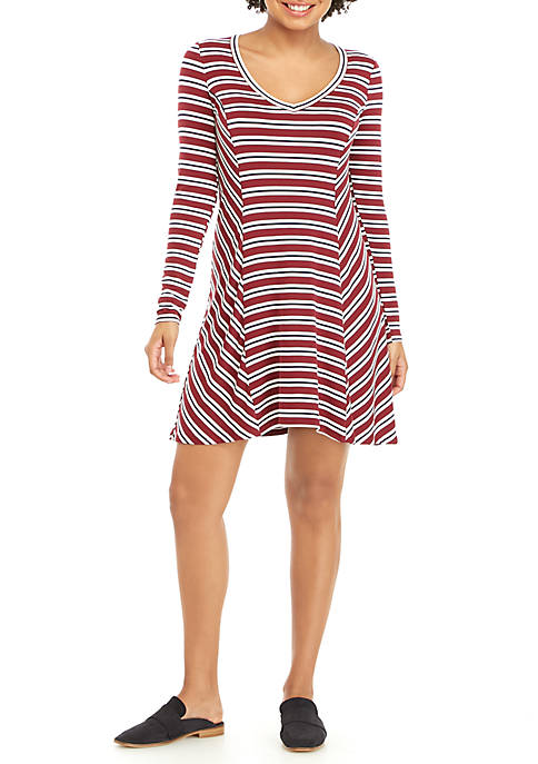 love, Fire V-Neck Swing Stripe Dress