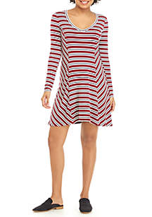 V-Neck Swing Stripe Dress
