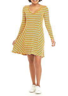 V-Neck Swing Stripe Dress