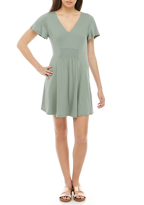 Short Flutter Sleeve Smocked Dress
