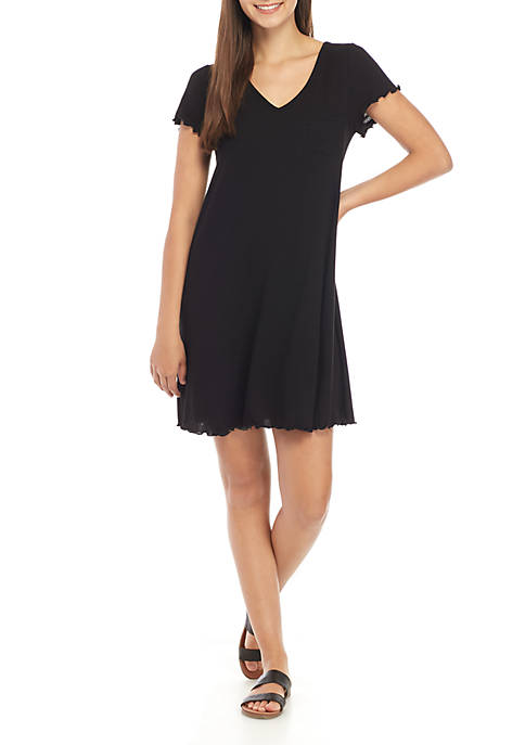 Short Sleeve Ribbed Swing Dress