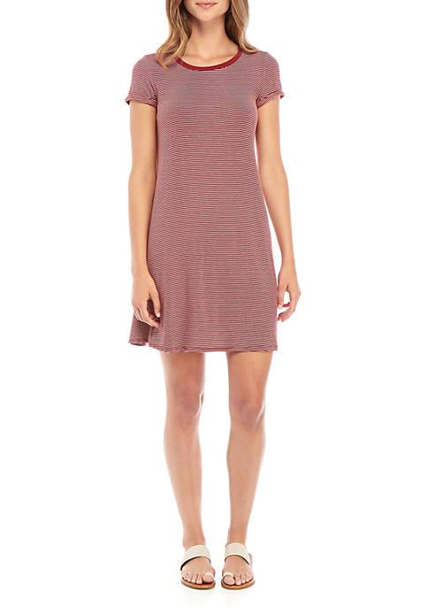 Short Sleeve Stripe Swing Dress