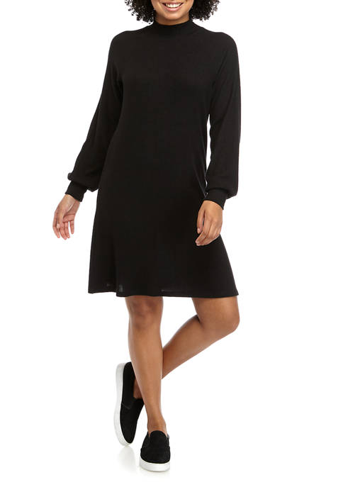 Juniors Mock Neck Ribbed Sleeve Hacci Dress