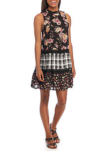 Tier Twin Print Sleeveless Print Dress