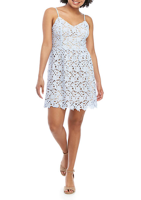 love, Fire Spaghetti Strap Lace Mini Dress