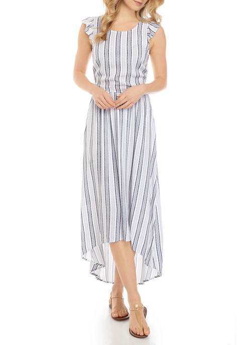 Juniors Ruffle Sleeve High Low Maxi Dress