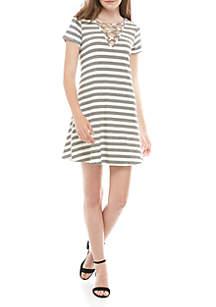 love, Fire Short Sleeve Lattice Front Rib Knit Dress
