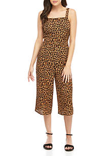 love, Fire Spaghetti Strap Leopard Crop Jumpsuit