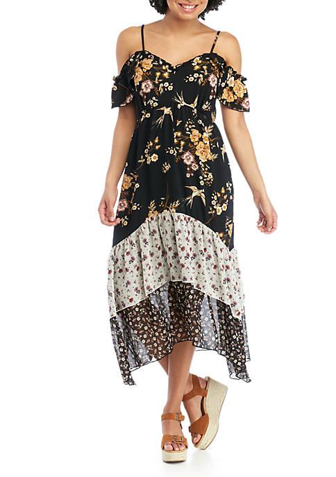 love, Fire Twin Print Tiered Midi Dress