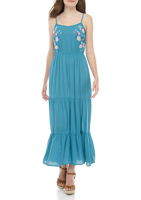 love, Fire Embroidered Maxi Dress