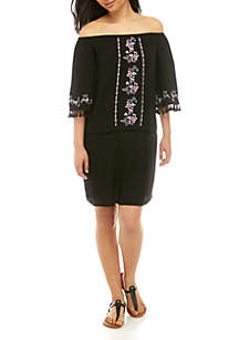 love, Fire Off the Shoulder Embroidered Dress