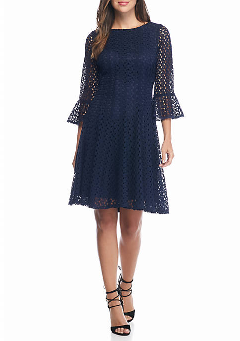 Chris McLaughlin Bell Sleeve Lace Fit-And-Flare Dress