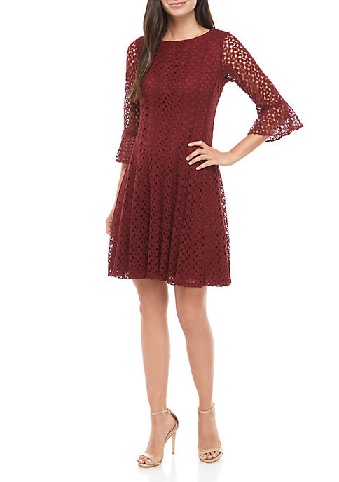Chris McLaughlin Crochet Bell Sleeve Fit and Flare