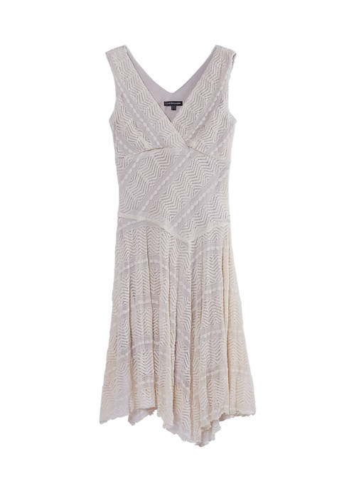 Chris McLaughlin Womens Sleeveless Stretch Lace Asymmetric Hem