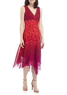 Chris McLaughlin Sleeveless V Neck Chiffon Midi Dress