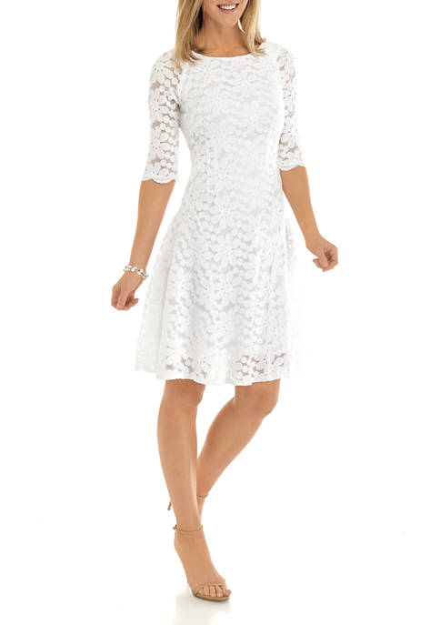 Chris McLaughlin Womens Elbow Sleeve Floral Lace Dress