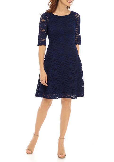 Chris McLaughlin Womens Elbow Sleeve Floral Lace Dress