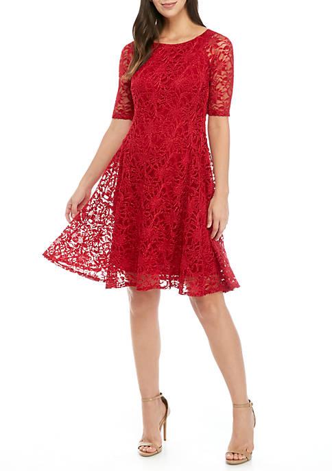 Chris McLaughlin Womens Short Sleeve Lace Dress
