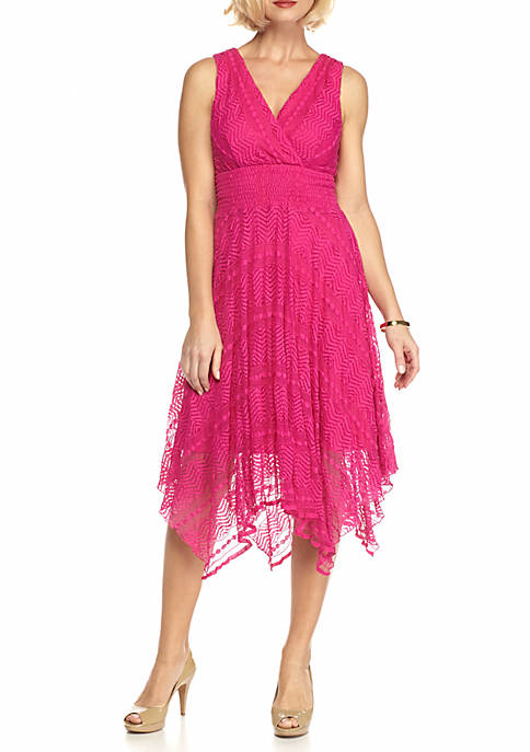 Lace Handkerchief Hem Fit and Flare Dress