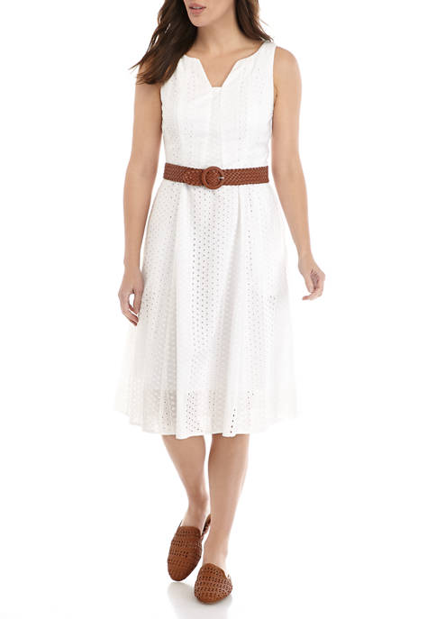 Chris McLaughlin Womens Sleeveless Belted Eyelet Dress