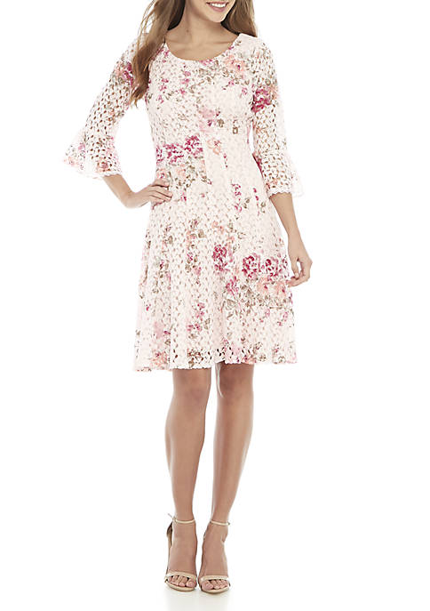 Chris McLaughlin Fit and Flare Floral Crochet Dress