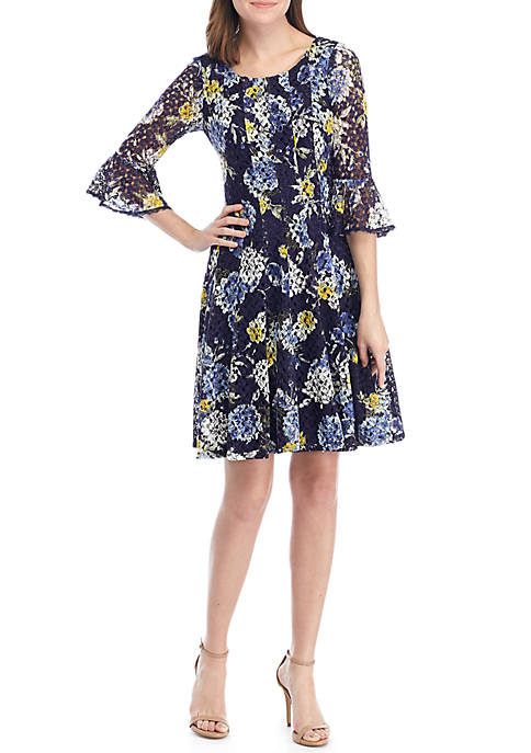 Chris McLaughlin Floral Crochet Fit and Flare Dress