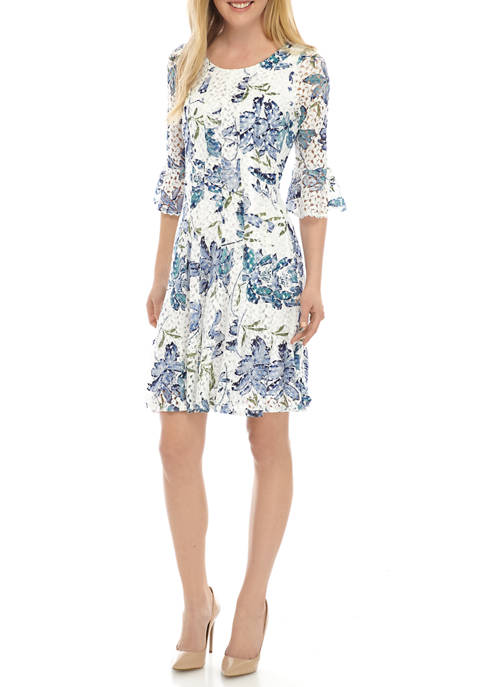 Chris McLaughlin Womens Bell Sleeve Floral Dress