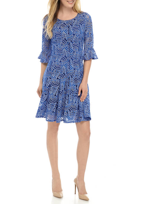 Chris McLaughlin Womens 3/4 Sleeve Lace Outline Dress