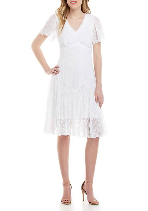 Chris McLaughlin Lace V Neck Flutter Sleeve Dress