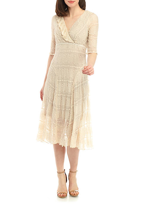 Chris McLaughlin Ruffle Trim V Neck Lace Dress