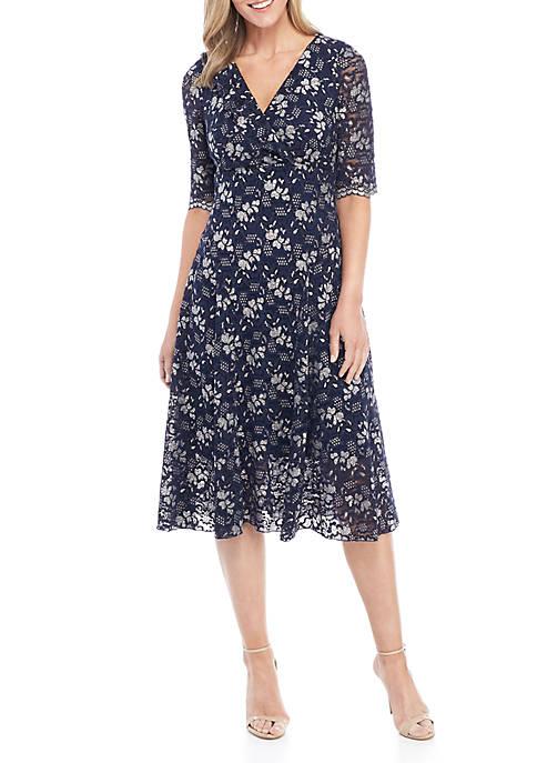 Chris McLaughlin Empire Waist Lace Short Dress