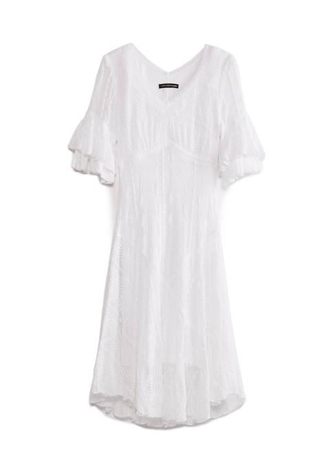 Chris McLaughlin Womens Empire Waist Ruffle Sleeve Dress
