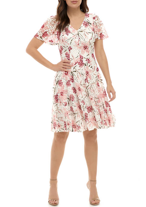 Chris McLaughlin Women's Flutter Sleeve Floral V Neck Dress