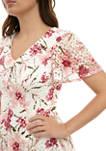 Womens Flutter Sleeve Floral V Neck Dress