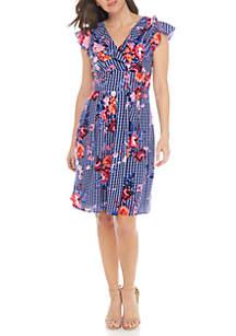 Floral Gingham Wrap Dress