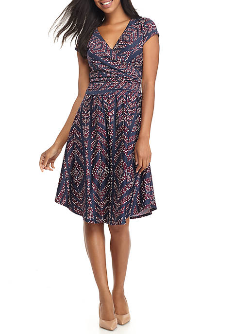Chris McLaughlin Short Sleeve Faux Wrap Printed Dress