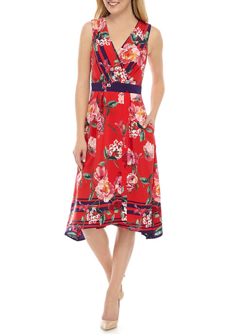 Chris McLaughlin Womens Border Print A Line Dress