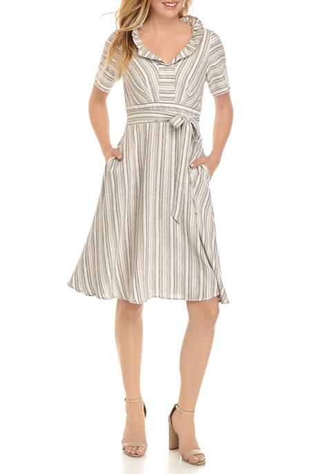 Chris McLaughlin Womens Multi Stripe Ruffle Neck Midi
