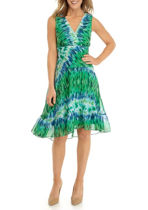 Chris McLaughlin Womens Sleeveless Multi Tie Dye Dress