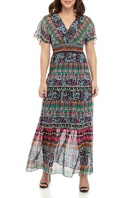 Chris McLaughlin Dolman Sleeve V Neck Maxi Dress