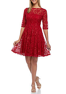 Three-Quarter Sleeve Sequin Dress
