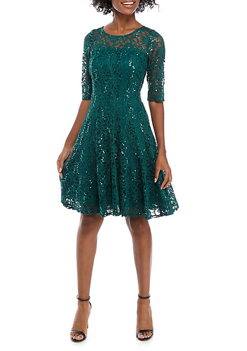 Chris McLaughlin 3/4 Sleeve Sparkle Fit and Flare