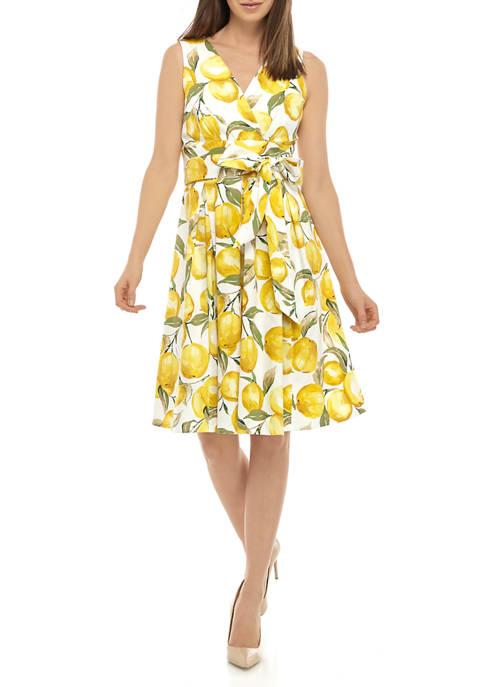 Womens Lemon Tie Waist Dress