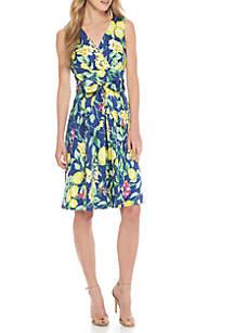 Sleeveless Cotton Printed Surplus Wrap Dress with Sash Belt
