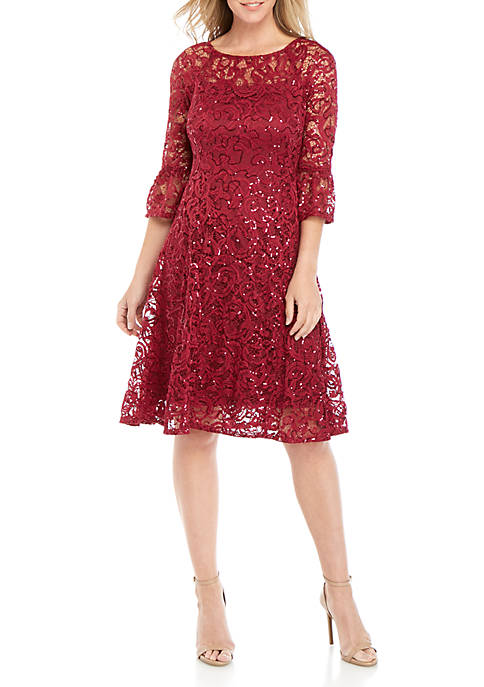 Chris McLaughlin Bell Sleeve Short Lace Dress