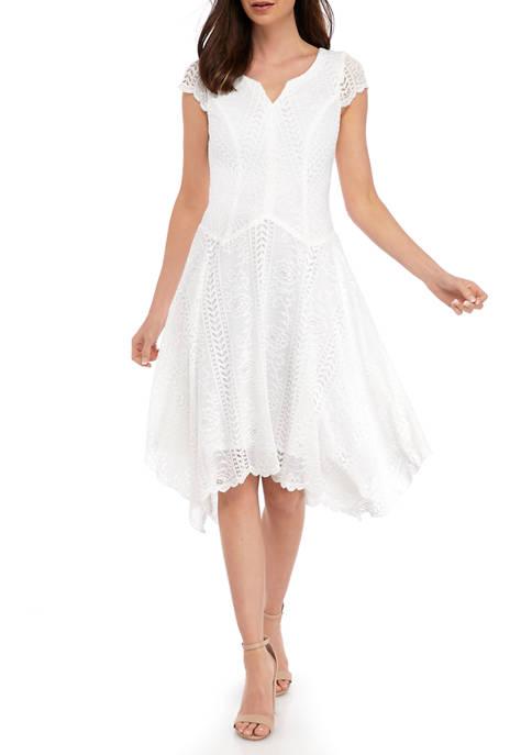 Womens Empire Waist Hanky Hem Dress