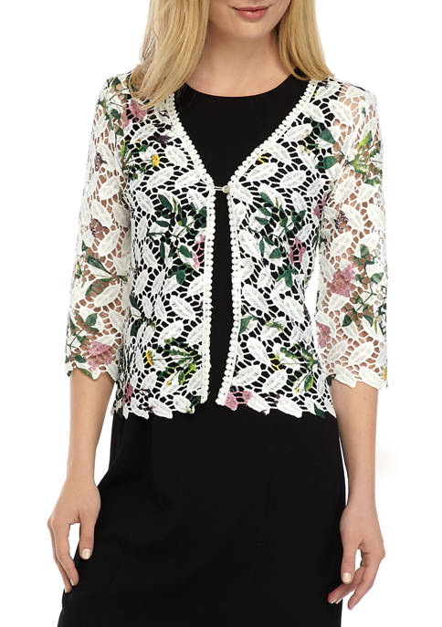 Chris McLaughlin Womens Floral One Button Topper