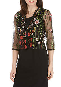 Chris McLaughlin 3/4 Sleeve Mesh Embroidered Cardigan